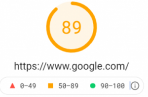 web vitals score in pagespeed insights
